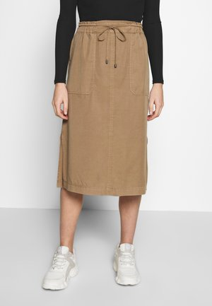 SKIRT STRAIGHT SHAPE SIDE SLITS - Jupe trapèze - shaded walnut