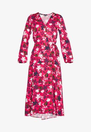 DRESS WRAP STYLE BELTED WAIST LONG SLEEVE - Denní šaty - multi/ bright berry