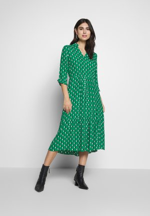 DRESS FEMININE SHAPE V-NECK WITH COLLARSTAND - Day dress - green