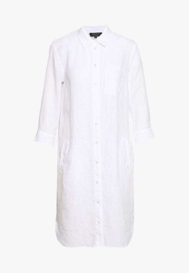 DRESS TUNIQUE COLLAR WELT POCKETS SIDE SLITS - Shirt dress - white