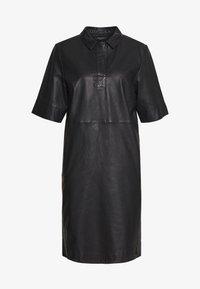 Marc O'Polo - DRESS CROPPED SLEEVE LENGT - Shirt dress - black - 0