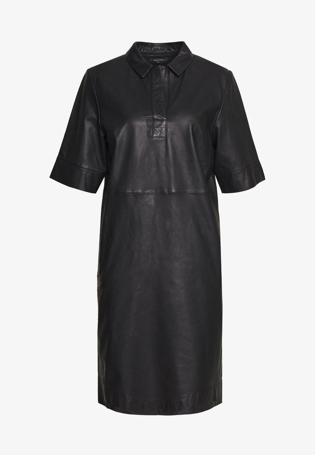 DRESS CROPPED SLEEVE LENGT - Shirt dress - black