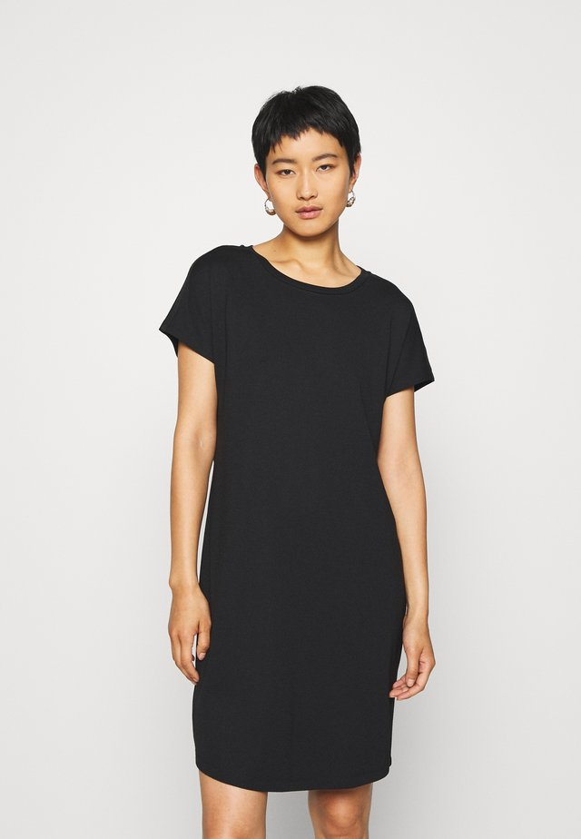 DRESS OVERCUT SHOULDER ROUND NECK - Robe en jersey - black