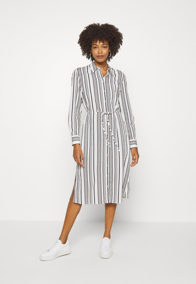 DRESS FLUENT STYLE BREAST POCKET SMALL BELT STRIPED - Shirt dress - oyster white