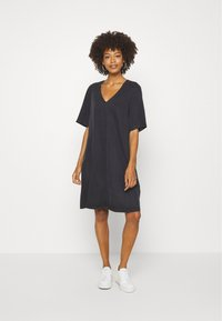 Marc O'Polo - DRESS FLARED A SHAPE V NECK - Day dress - breezy black - 1