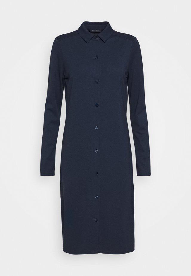 DRESS LONG SLEEVE COLLAR BUTTON PLACKET - Sukienka koszulowa - midnight blue