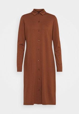DRESS LONG SLEEVE COLLAR BUTTON PLACKET - Jersey dress - chestnut brown