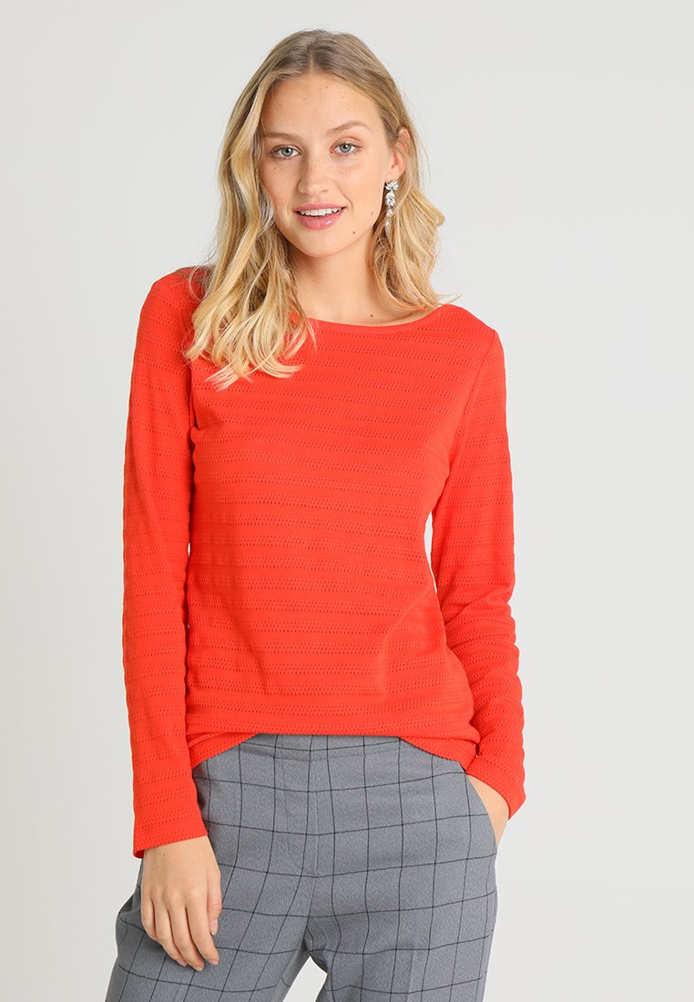Marc O'Polo - LONG SLEEVE STRUCTURED - Long sleeved top - strong scarlet