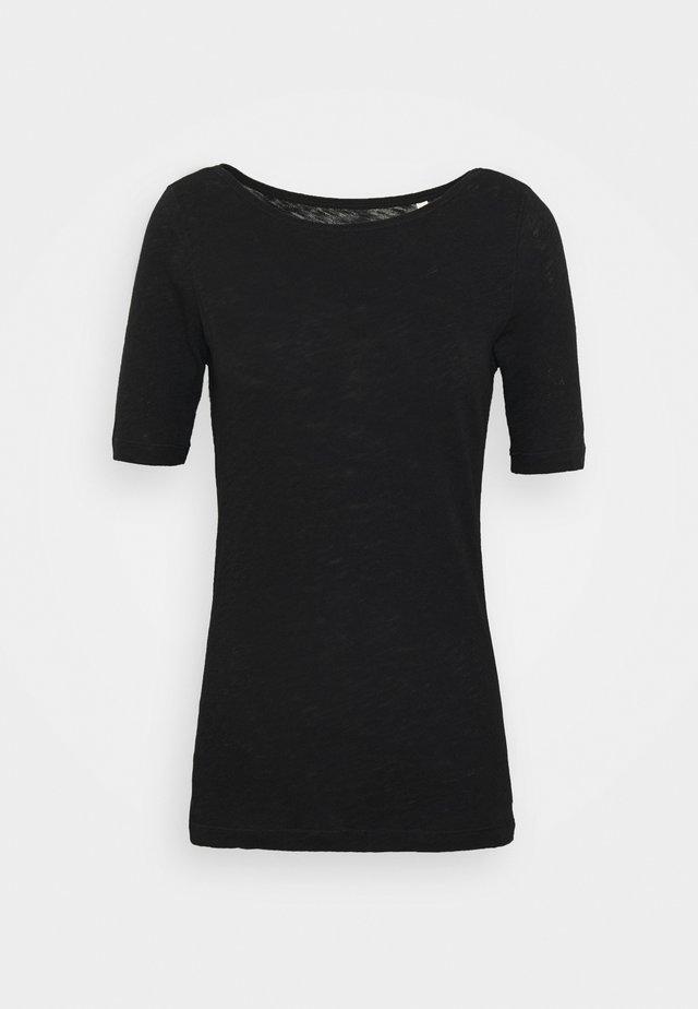 SHORT SLEEVE BOAT NECK - Jednoduché triko - black