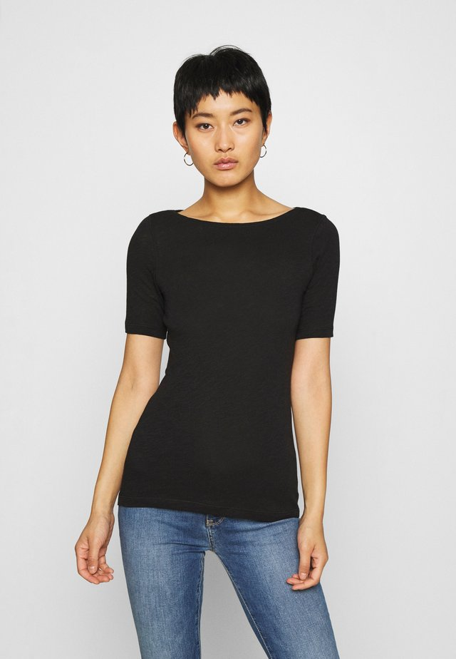 SHORT SLEEVE BOAT NECK - T-shirt basique - black