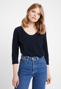 Marc O'Polo - 3/4 SLEEVE ROUNDED NECK - Long sleeved top - midnight blue - 0