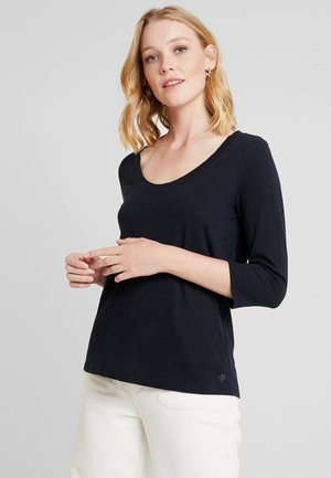 SLEEVE ROUNDED V NECK - Long sleeved top - midnight blue