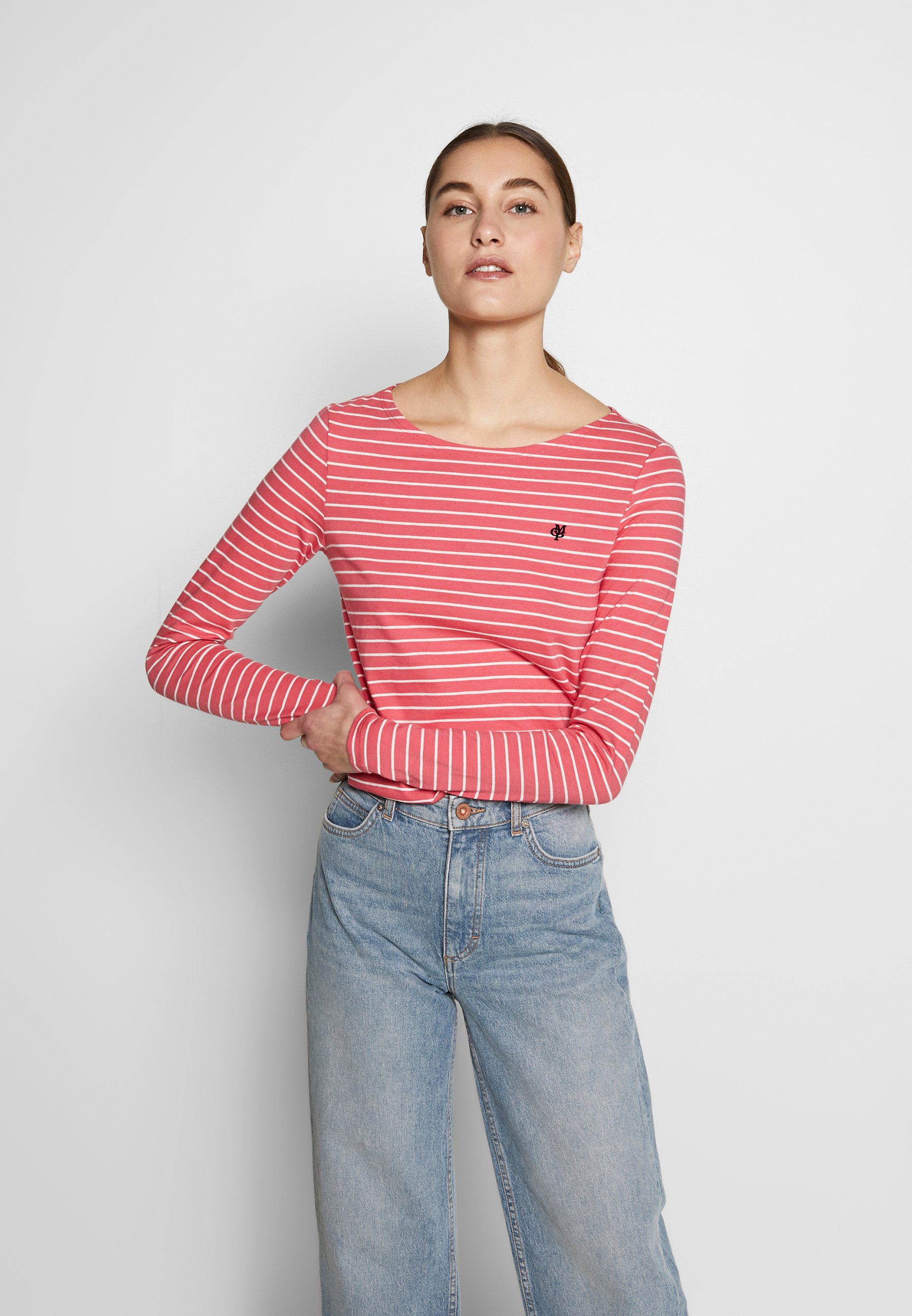 Marc O'Polo LONG SLEEVE ROUNDNECK STRIPED - Topper langermet - bright berry