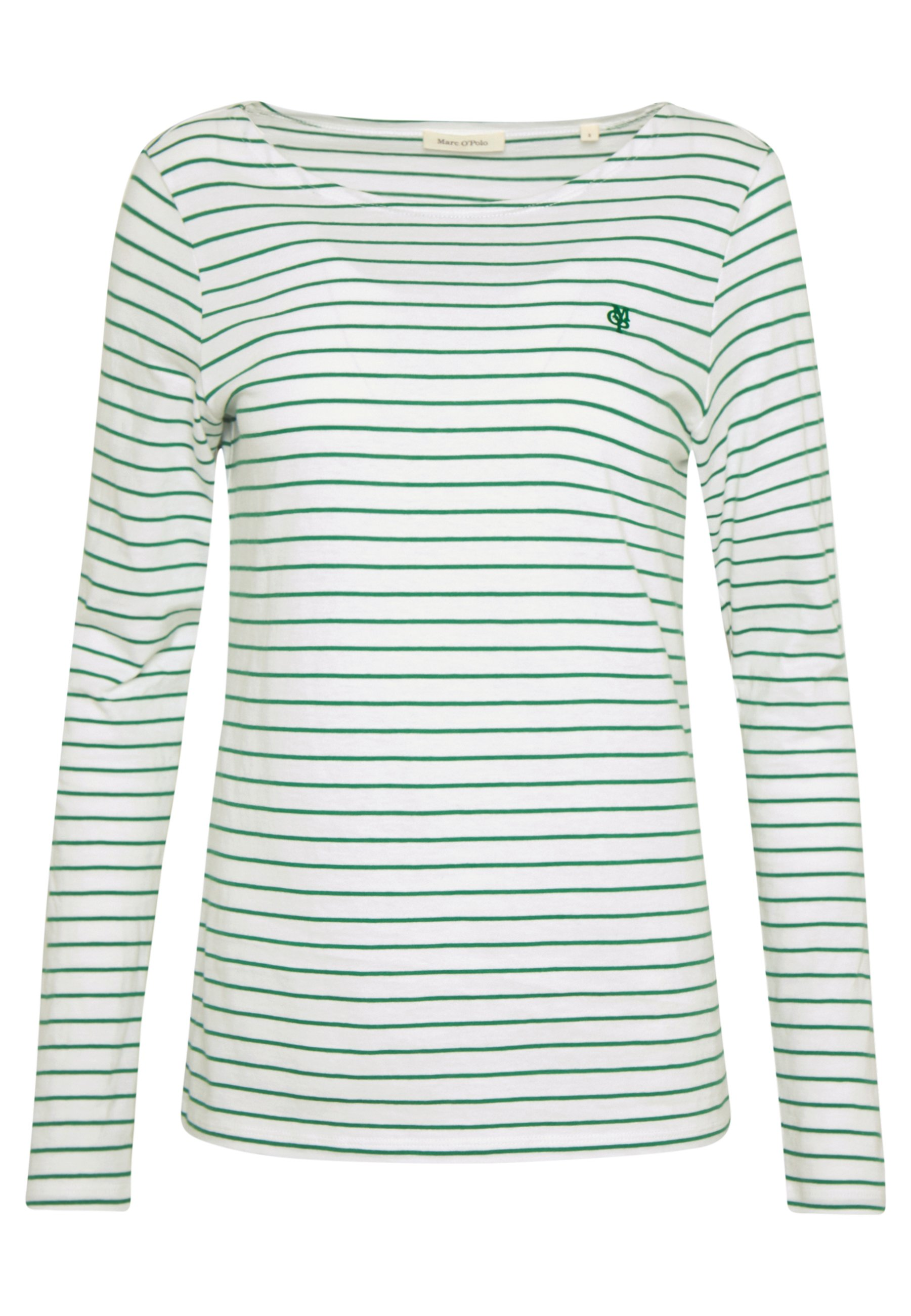Marc O'polo Long Sleeve Roundneck Striped - Sleeved Top Soft White UK