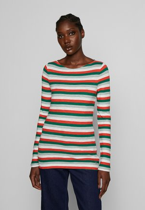 LONG SLEEVE BOAT NECK STRIPED - Long sleeved top - multi/spring forest