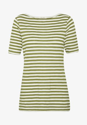 SHORT SLEEVE BOAT NECK STRIPED - T-shirts med print - seaweed green