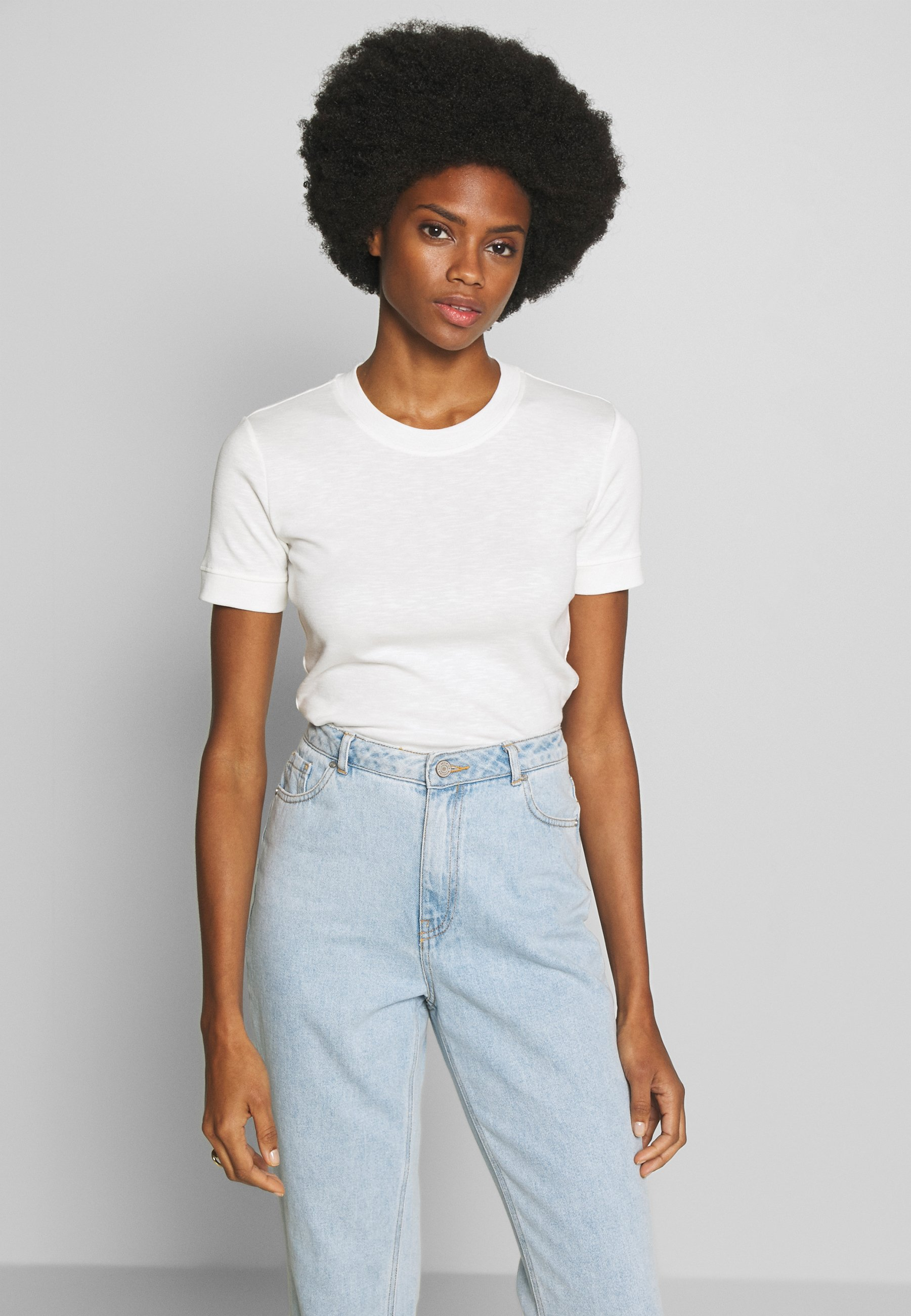 Marc O'Polo SHORT SLEEVE ROUND NECK - T-shirts - oyster white