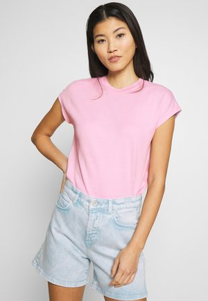 T-SHIRT, CUT-ON SLEEVE, HIGH-NECK - T-shirts - bleached berry