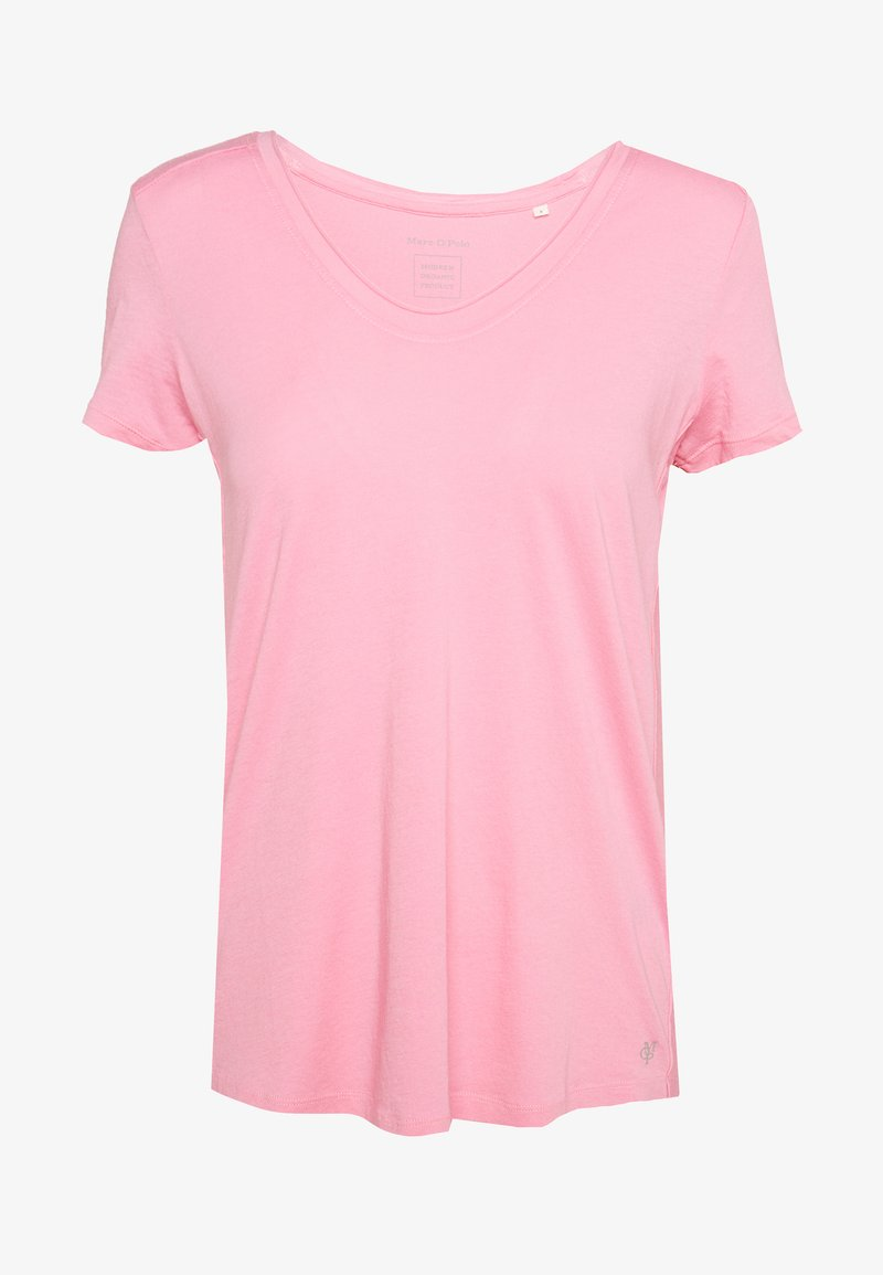 Marc O'Polo - SHORT SLEEVE ROUNDED V-NECK RAW CUT DETAILS - Jednoduché triko - sunlit coral