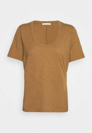 SHORT SLEEVE ROUND NECK SOLID - Jednoduché triko - deep tobacco