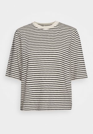BOXY CROPPED STRIPED - Triko s potiskem - multi/raw sand