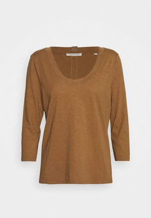 3/4 SLEEVE ROUNDED V NECK - Longsleeve - deep tobacco