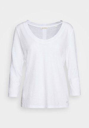 SLEEVE ROUNDED NECK STITCHING DETAIL - Long sleeved top - white