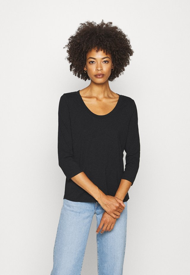 SLEEVE ROUNDED NECK STITCHING DETAIL - Maglietta a manica lunga - black