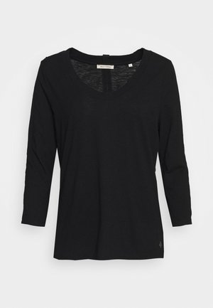 SLEEVE ROUNDED NECK STITCHING DETAIL - Long sleeved top - black