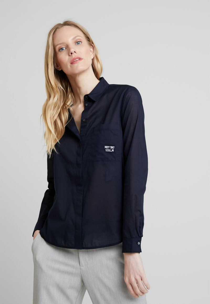 Marc O'Polo - BLOUSE KENT COLLAR LONG SLEEVED - Košile - midnight blue