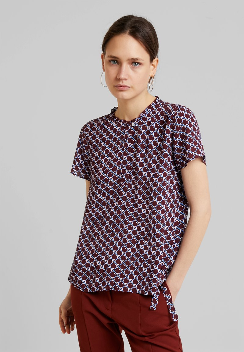Marc O'Polo - BLOUSE ROUND NECK WITH DETAIL - Bluse - bordeaux