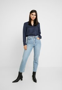 Marc O'Polo - BLOUSE ROUND NECK WITH FRINGES - Overhemdblouse - midnight sea - 1