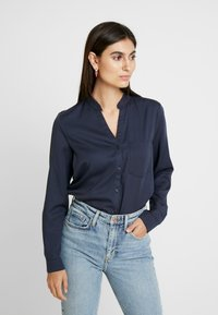 Marc O'Polo - BLOUSE ROUND NECK WITH FRINGES - Overhemdblouse - midnight sea - 0