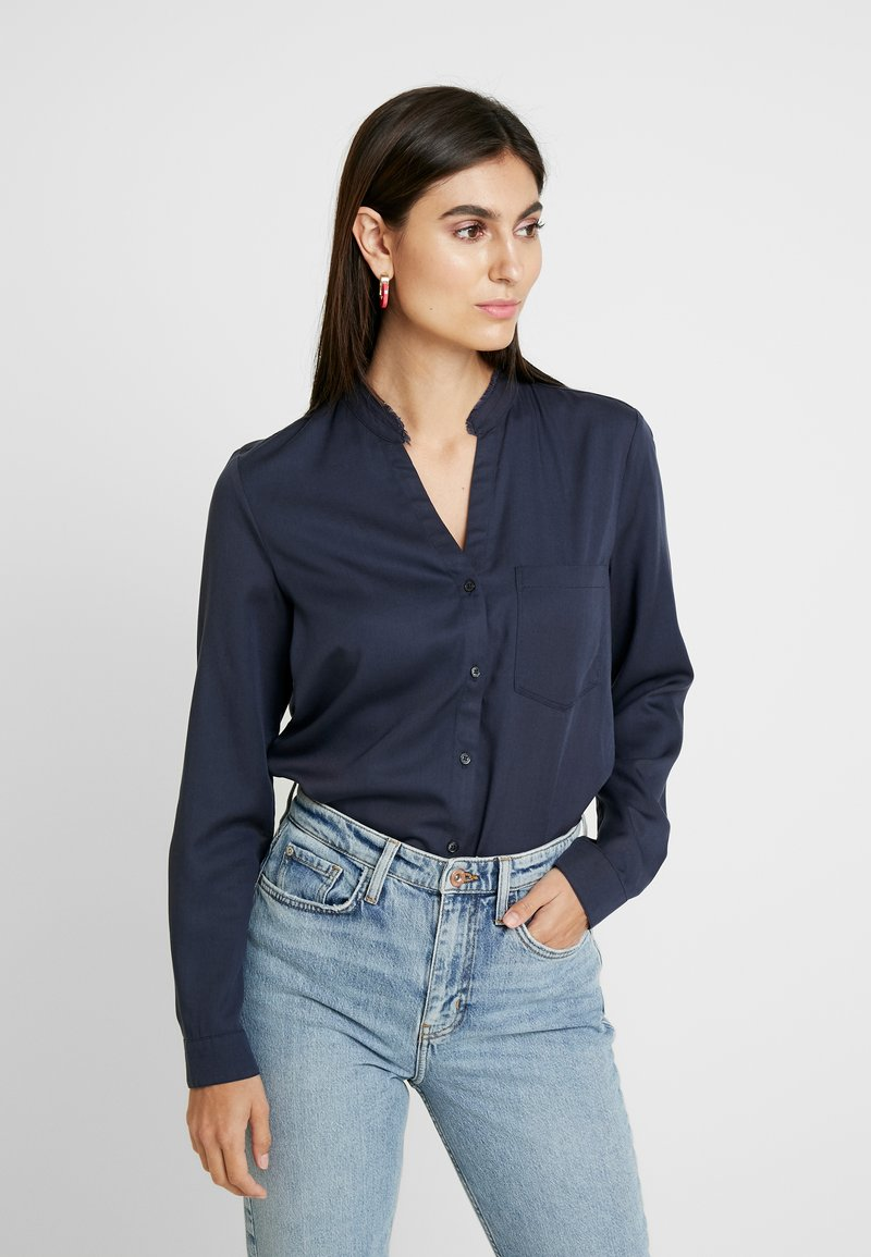 Marc O'Polo - BLOUSE ROUND NECK WITH FRINGES - Overhemdblouse - midnight sea