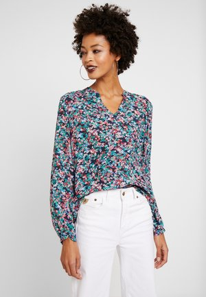 BLOUSE OPEN V NECK LONG SLEEVED - Blouse - multi-coloured