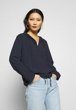 BLOUSE V-NECK WITH HOODED COLLAR - Blouse - night sky