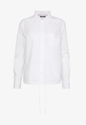 BLOUSE LONG SLEEVEED TIE DETAIL AT HEM POCKET - Košile - white
