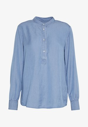 BLOUSE STAND UP COLLAR LONG SLEEVED - Blusa - light blue washed