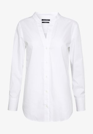 BLOUSE FEMININE V-NECK  LONG SLEEVE BUTTON THROUGH - Blůza - white