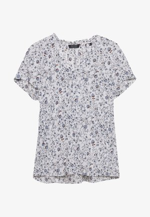 BLOUSE VNECK SHORT SLEEVED FEMININE DETAILS AT BACK - Blůza - multi