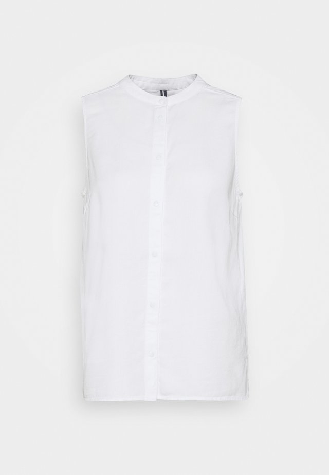 SLIGTHLY A SHAPED SLEEVELESS STAND UP COLLAR - Button-down blouse - white