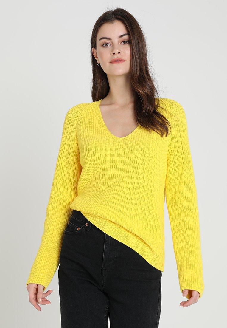 Marc O'Polo - V NECK LONG SLEEVE - Strickpullover - spectra yellow