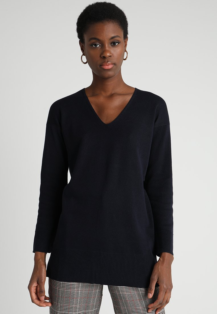 Marc O'Polo - LONG SLEEVE WITH SLITS - Maglione - dark blue