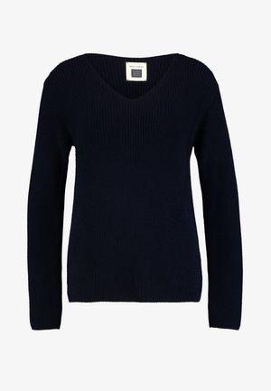 LONG SLEEVE OVERCUTTED - Stickad tröja - midnight blue