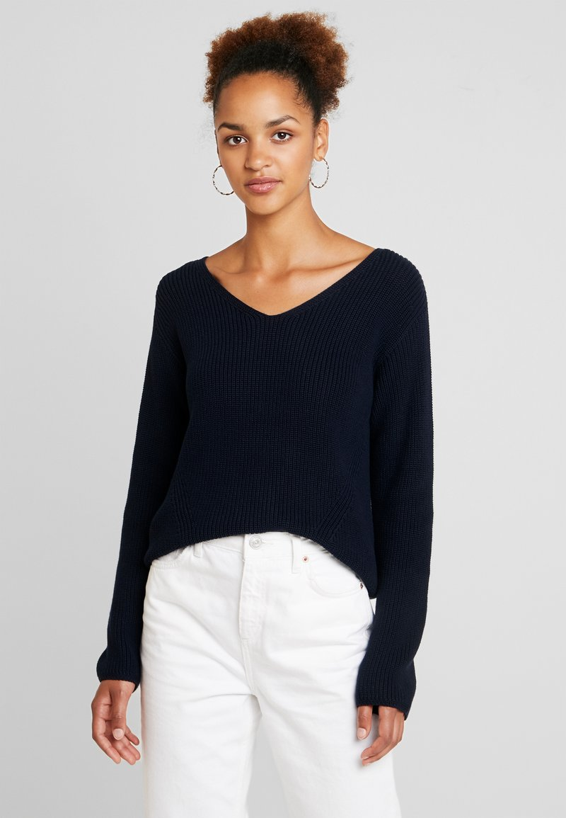 Marc O'Polo - LONG SLEEVE OVERCUTTED - Strickpullover - midnight blue
