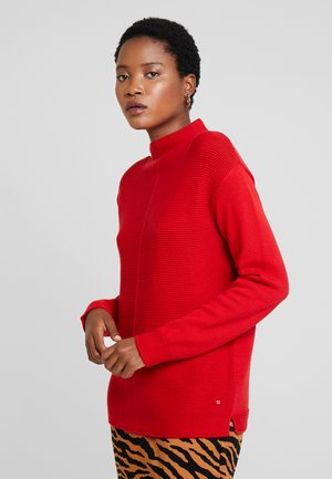 LONGSLEEVE STRUCTURE MIX TURTLENECK - Stickad tröja - cranberry red