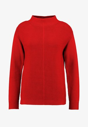 LONGSLEEVE STRUCTURE MIX TURTLENECK - Trui - cranberry red