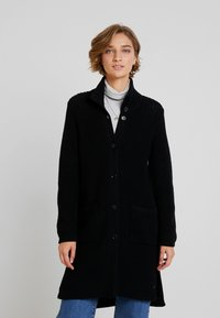 Marc O'Polo - CARDIGAN LONGSLEEVE HIGH COLLAR BUTTONS COZY - Cardigan - black - 0