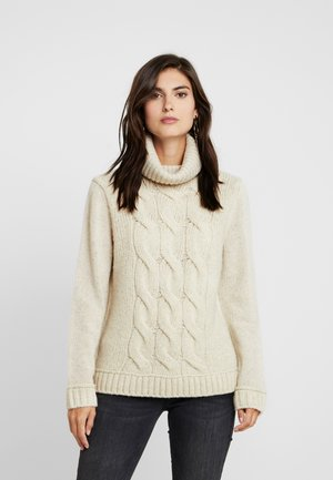 LONGSLEEVE TURTLE NECK PATCH AND CABLE - Jersey de punto - honey milk