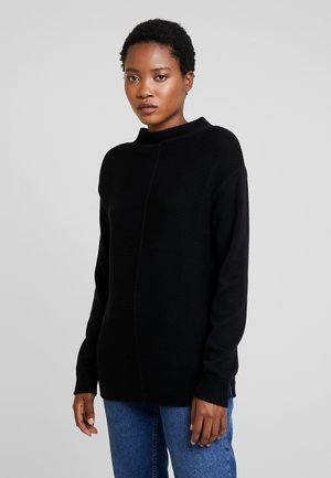 LONGSLEEVE STRUCTURE MIX TURTLENECK - Pullover - black